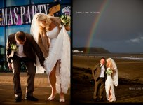 Rainbow over bride n groom Scarborough