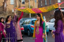 Asian wedding Bradford, bride arrives