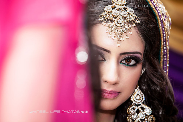 Asian bride's face