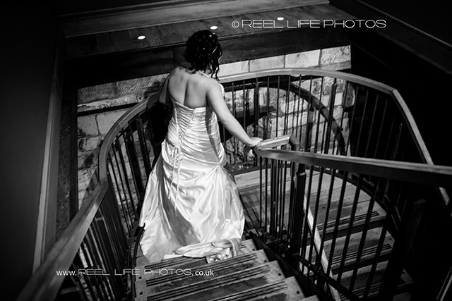 Natural black and white wedding photography of bride in York
